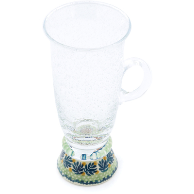 Polish Pottery Cappuccino Glass 12 oz Lemon Tree
