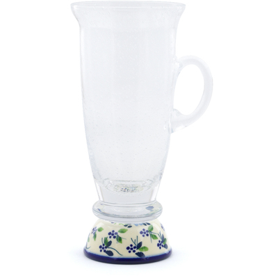 Polish Pottery Cappuccino Glass 12 oz Soaring Flowers UNIKAT
