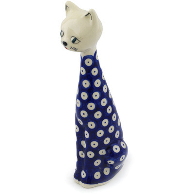 "Polish Pottery Cat Figurine 10"" Blue Eyed Peacock"