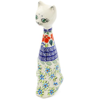 "Polish Pottery Cat Figurine 10"" Grecian Fields"