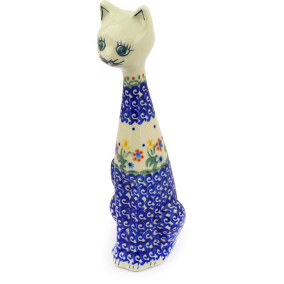 "Polish Pottery Cat Figurine 10"" Spring Flowers"