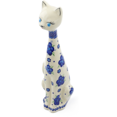 "Polish Pottery Cat Figurine 13"" Bleu-belle Fleur"