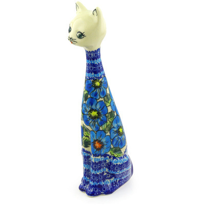 "Polish Pottery Cat Figurine 13"" Bold Blue Poppies UNIKAT"