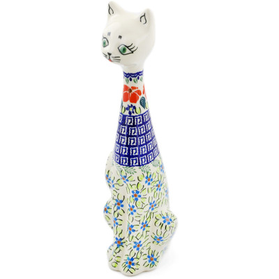 "Polish Pottery Cat Figurine 13"" Grecian Fields"