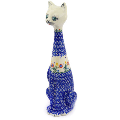 "Polish Pottery Cat Figurine 13"" Spring Flowers"