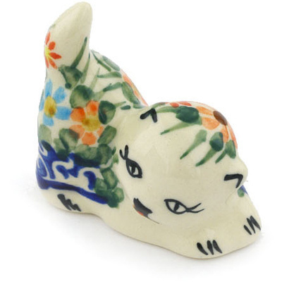 "Polish Pottery Cat Figurine 2"" Blissful Daisy"