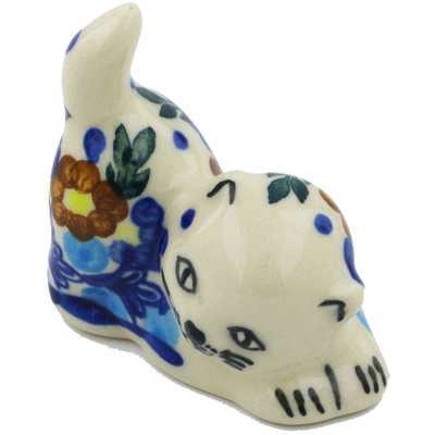 "Polish Pottery Cat Figurine 2"" Bold Poppies UNIKAT"