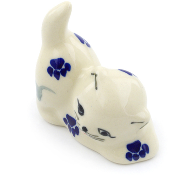 "Polish Pottery Cat Figurine 2"" Boo Boo Kitty Paws"