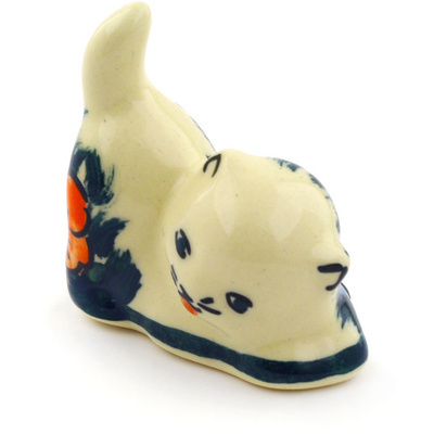 "Polish Pottery Cat Figurine 2"" Butterfly Splendor UNIKAT"