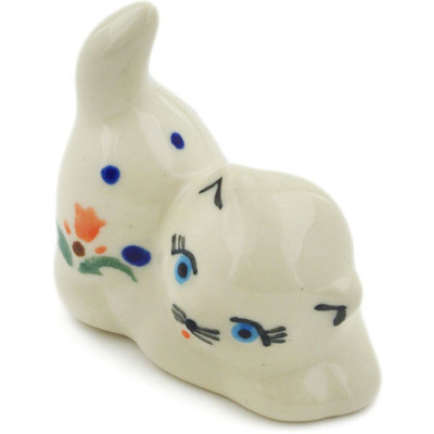 "Polish Pottery Cat Figurine 2"" Cocentric Tulips"