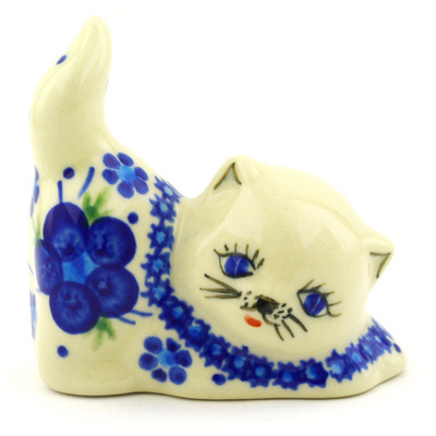"Polish Pottery Cat Figurine 3"" Bleu-belle Fleur"