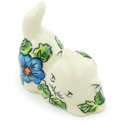 "Polish Pottery Cat Figurine 3"" Bold Blue Poppies UNIKAT"