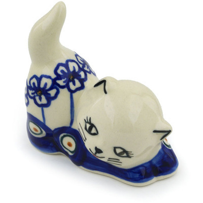 "Polish Pottery Cat Figurine 3"" Flowering Peacock"