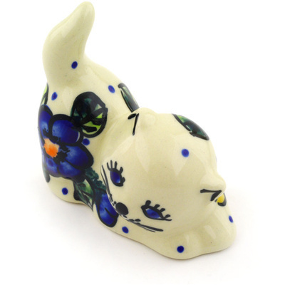 "Polish Pottery Cat Figurine 3"" Pansy Circle"
