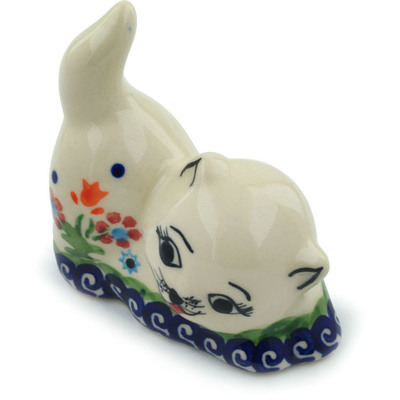 "Polish Pottery Cat Figurine 3"" Spring Flowers"