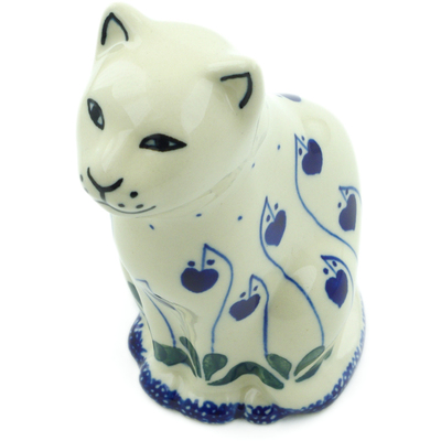 "Polish Pottery Cat Figurine 5"" Bleeding Heart Peacock"