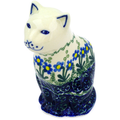 "Polish Pottery Cat Figurine 5"" Blue Daisy Circle"