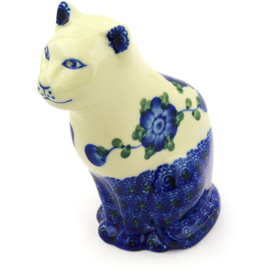 "Polish Pottery Cat Figurine 5"" Blue Poppies"