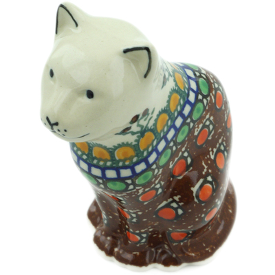 "Polish Pottery Cat Figurine 5"" Cranberry Medley UNIKAT"