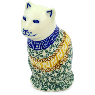 "Polish Pottery Cat Figurine 5"" Mediterranean Sea"