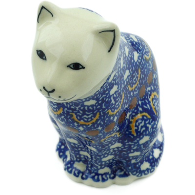 "Polish Pottery Cat Figurine 5"" Odysseus"