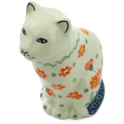 "Polish Pottery Cat Figurine 5"" Peach Spring Daisy"