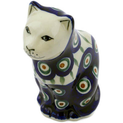 "Polish Pottery Cat Figurine 5"" Peacock Leaves"