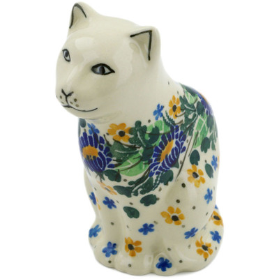 "Polish Pottery Cat Figurine 5"" Peeking Flowers UNIKAT"