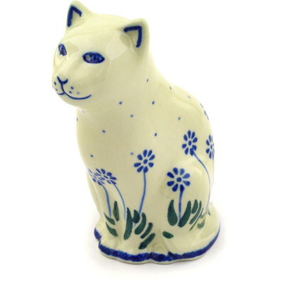 "Polish Pottery Cat Figurine 5"" Springing Calendulas"