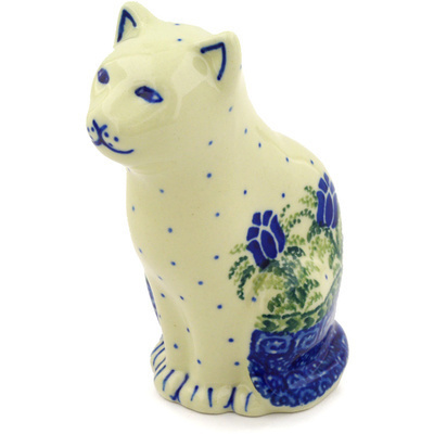 "Polish Pottery Cat Figurine 5"" Tulip Motif UNIKAT"