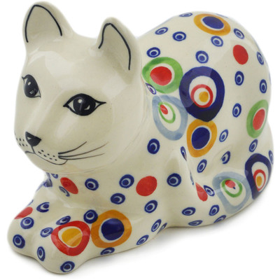 "Polish Pottery Cat Figurine 5"" UNIKAT"