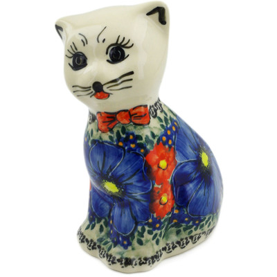 "Polish Pottery Cat Figurine 6"" Aztec Flowers UNIKAT"