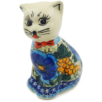 "Polish Pottery Cat Figurine 6"" Corn In The Blue UNIKAT"
