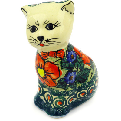 "Polish Pottery Cat Figurine 6"" Havana UNIKAT"