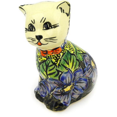 "Polish Pottery Cat Figurine 6"" Midnight Glow UNIKAT"