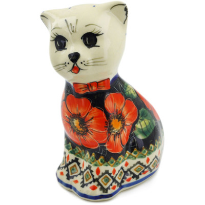 "Polish Pottery Cat Figurine 6"" Poppy Passion UNIKAT"