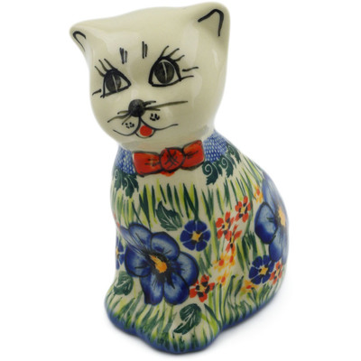 "Polish Pottery Cat Figurine 6"" Spring Garden UNIKAT"