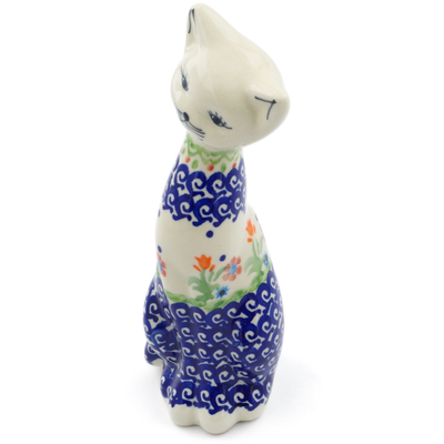"Polish Pottery Cat Figurine 8"" Spring Flowers"