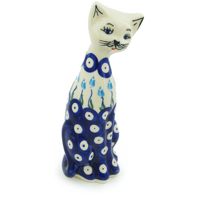 "Polish Pottery Cat Figurine 9"" Peacock Tulip Garden"
