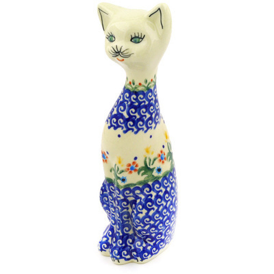 "Polish Pottery Cat Figurine 9"" Spring Flowers"
