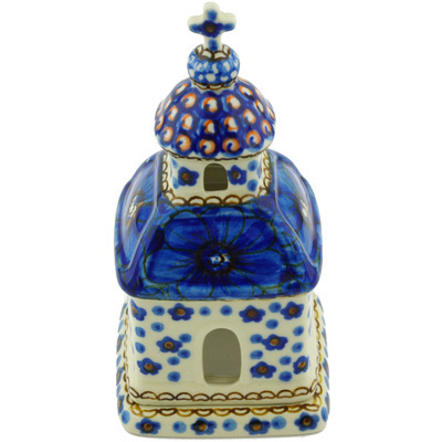 "Polish Pottery Chapel Candle Holder 6"" Cobalt Poppies UNIKAT"
