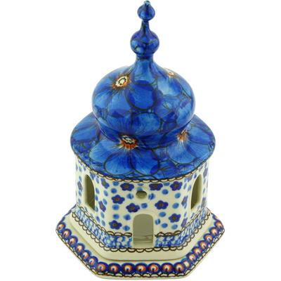 "Polish Pottery Chapel Candle Holder 7"" Cobalt Poppies UNIKAT"