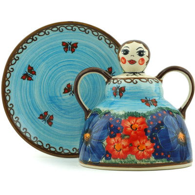 "Polish Pottery Cheese Lady 6"" Field Of Butterflies UNIKAT"