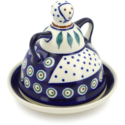 "Polish Pottery Cheese Lady 6"" Peacock Leaves"