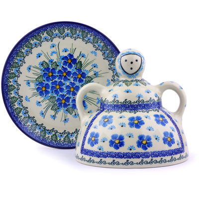 "Polish Pottery Cheese Lady 8"" Forget Me Not"