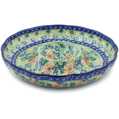 "Polish Pottery Chip and Dip Platter 12"" Floral Country UNIKAT"