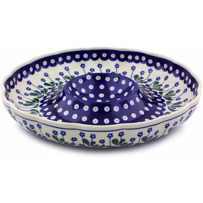 "Polish Pottery Chip and Dip Platter 12"" Forget-me-not Peacock"