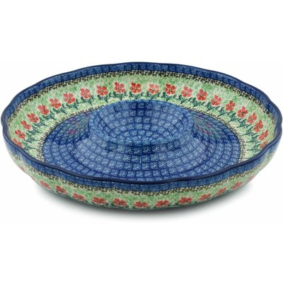 "Polish Pottery Chip and Dip Platter 12"" Maraschino"