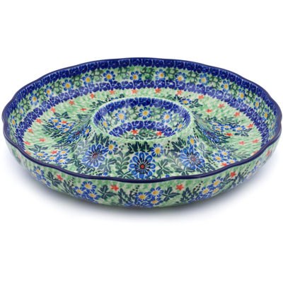 "Polish Pottery Chip and Dip Platter 12"" Spring Wedding UNIKAT"