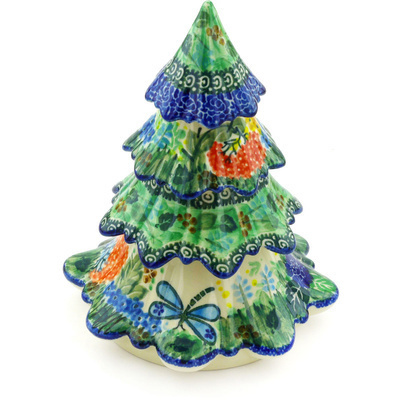 "Polish Pottery Christmas Tree 7"" Garden Delight UNIKAT"